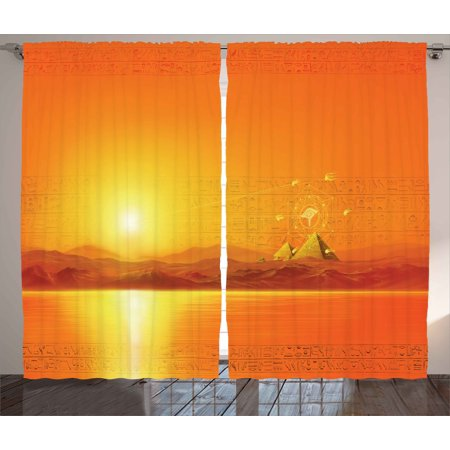 Egypt Decor Curtains 2 Panels Set, Sacred Geometry Symbol Hanging in the Air Sun Ancient Scene Reflection Print, Window Drapes for Living Room Bedroom, 108W X 84L Inches, Yellow Orange, by Ambesonne