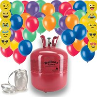 """Helium Tank + 50 Multi Color balloons + White Curling Ribbon + 10 emoji Balloons. 14.9 CU Ft Helium, Enough for 50 9 Balloons"""