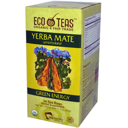 Eco Teas Organic Yerba Mate Unsmoked Green Energy, 24-Tea Bags