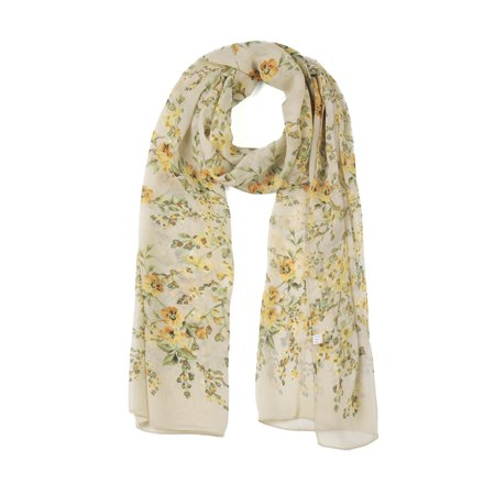 - Long Chiffon Shawl Beach Scarf Silk Floral Scarves for Women Yellow