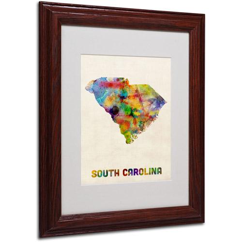 "Trademark Fine Art ""South Carolina Map"" Matted Framed Art by Michael Tompsett, Wood Frame"