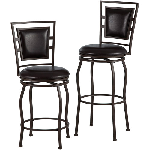 Linon Townsend Three Piece Adjustable Stool Set Dark