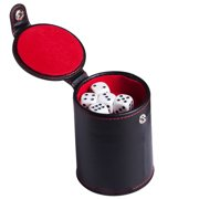 LeKing Leather Dice Cup with Storage Compartment - for Most Dice Game - Red Felt Lined for Yahtzee Farkle Bar Party Dice Games