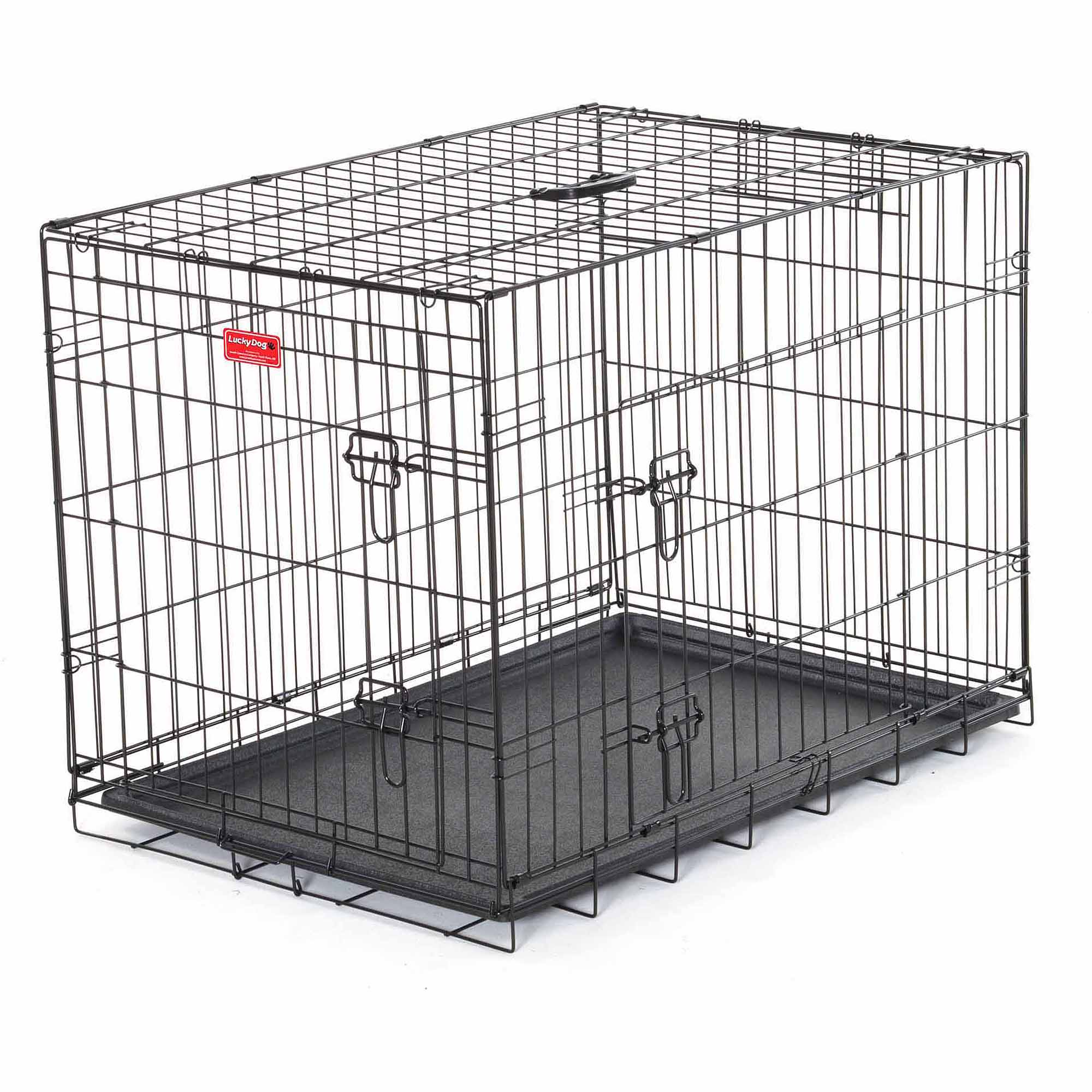 "24""L Lucky Dog Folding Black Wire 2 Door Training Crate"