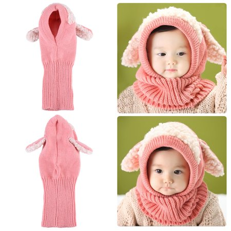 Dog Style Comfortable Winter Baby Hat and Scarf Joint Knitted Caps for Infant Boys Girls, Infant Baby Hat, Newborn Baby Hat