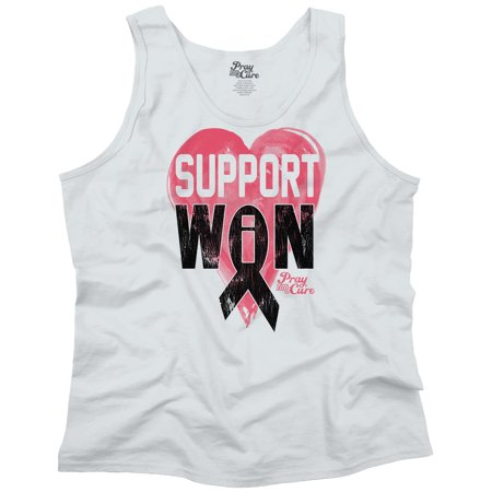 Breast Cancer Awareness Support Win Pray For A Cure Boobs Humor Tank Top T-Shirt by Pray For A