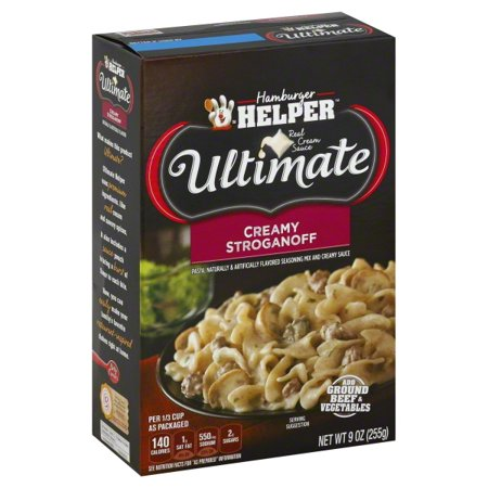 Betty Crocker Ultimate Creamy Stroganoff 9 oz Box Get dinner on the table in no time with Betty Crocker Ultimate Creamy Stroganoff Hamburger Helper. It comes with a tasty sauce packed with rich and hearty flavor. This Betty Crocker hamburger helper (9 oz) is simple to prepare. Add a side salad or some bread for a complete meal.Betty Crocker Ultimate Creamy Stroganoff Hamburger Helper: