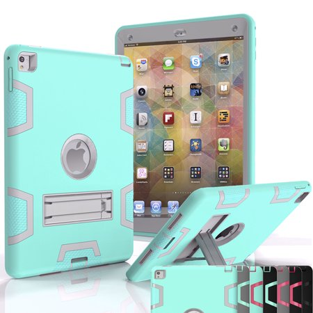 iPad Air 2 Case,Shock Absorbing Heavy Duty Defender Rugged 3 IN 1 Silicone Hard Case With Kickstand Full Body Protective Cover For Apple iPad Air 2nd Gen/ Ipad 6 Njjex [New