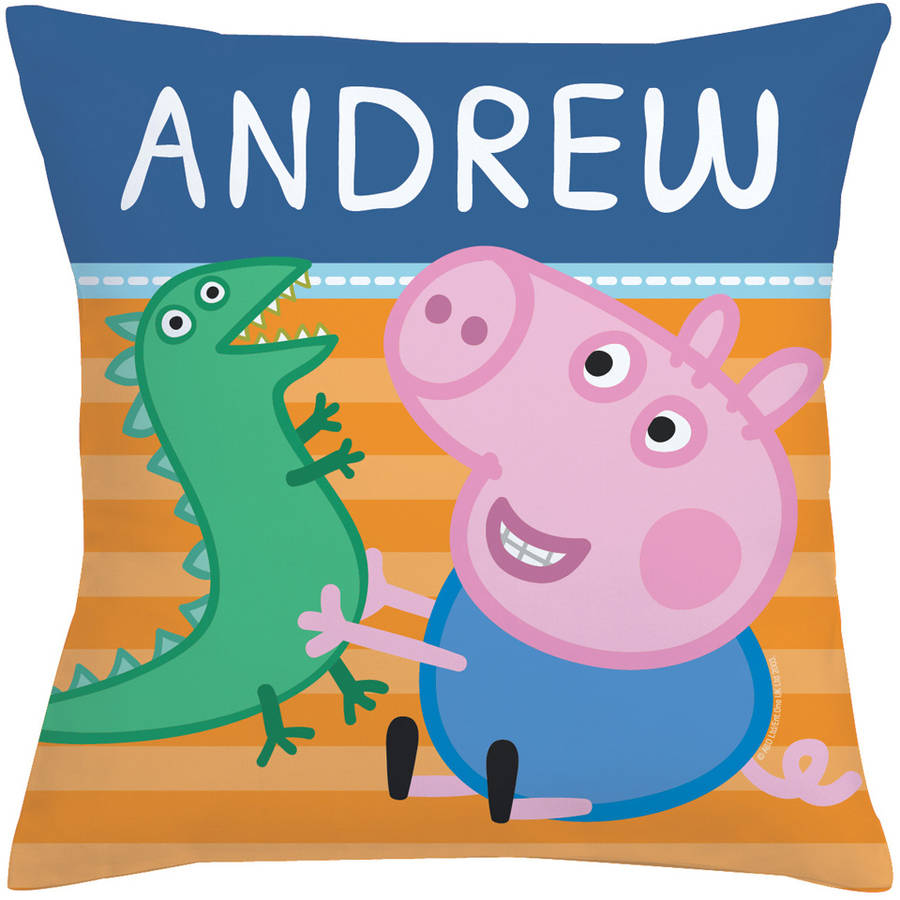 Personalized Peppa Pig Throw Pillow - George And Mr. Dinosaur