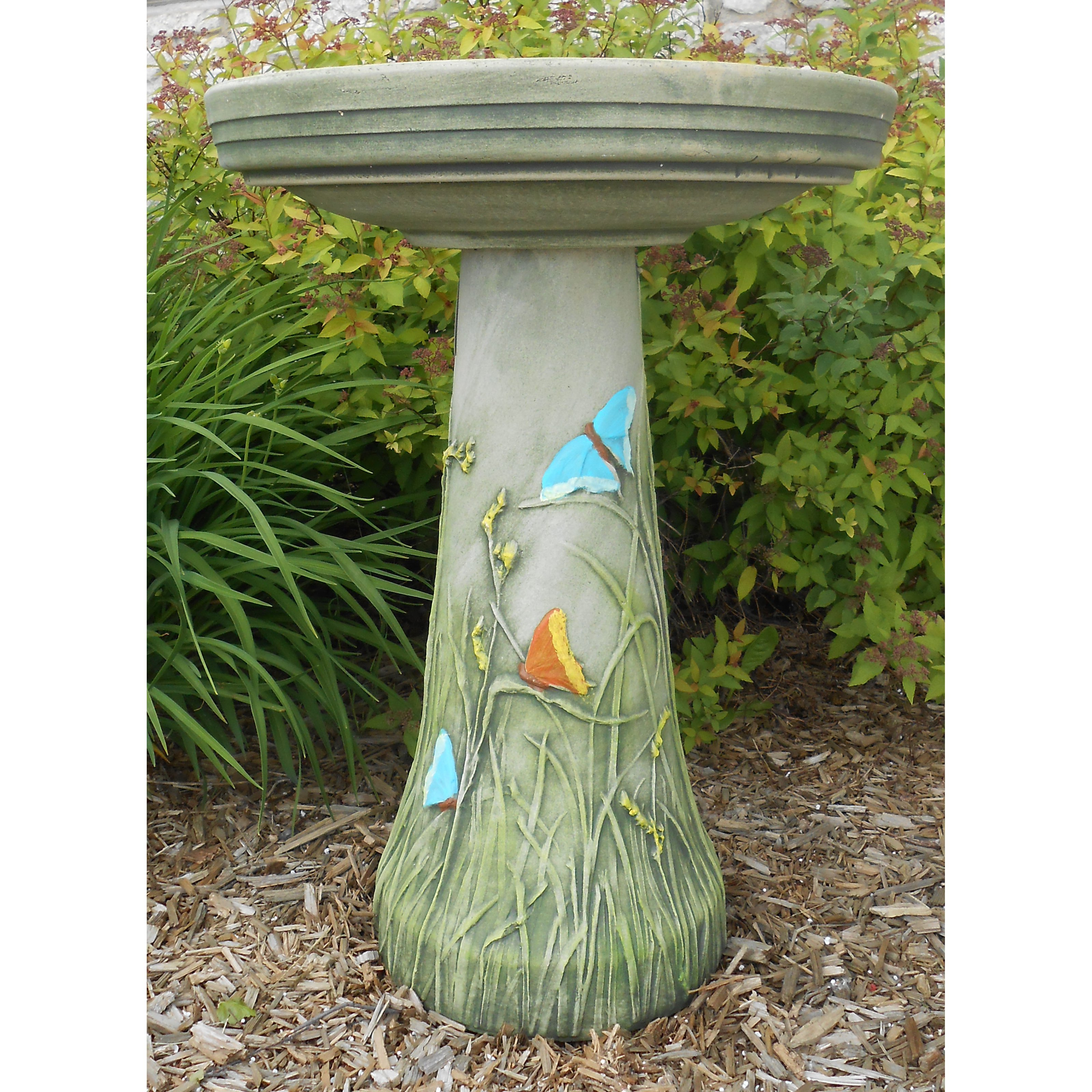 Burley Clay Hand Tinted Butterfly Ceramic Birdbath by Backyard Nature Products Inc