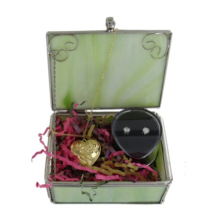 - Women's Jewelry Box Gift Set Gold Tone Locket Pendant and CZ Cubic Zirconia Stud Pierced Earrings