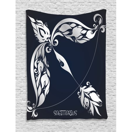 Zodiac Decor Tapestry  Astrology Sign Sagittarius With Flower Images Planetary Impacts On Nature  Wall Hanging For Bedroom Living Room Dorm Decor  60W X 80L Inches  Blue Silver  By Ambesonne