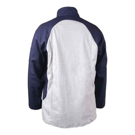 Black Stallion JF1625-NG Stretch-Back FR Cotton Welding Jacket, Navy/Gray, 4X-Large