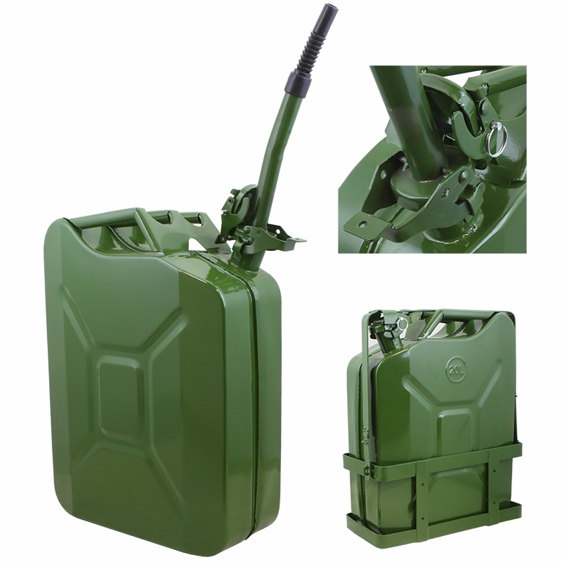 5Gal Jerry Can Gas Fuel Steel Tank NATO Style with Holder, Green Military