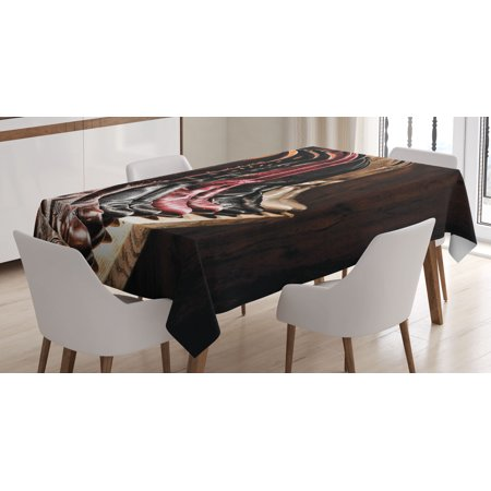 Western Decor Tablecloth, Various Type of Embellished Rodeo Fancy Cowgirl Leather Boots Collection Image, Rectangular Table Cover for Dining Room Kitchen, 60 X 90 Inches, Brown, by Ambesonne