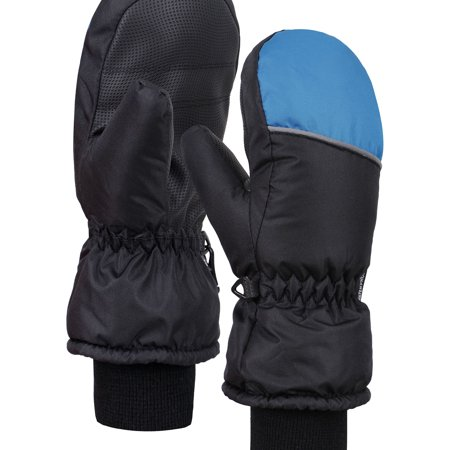 - ANDORRA Boys Color Block Weather-Proof Thinsulate Ski Gloves, Long Snow Cuff,L,BlackBlue