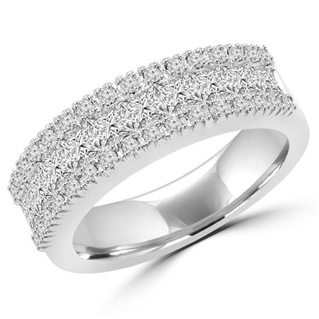 14k White Gold Antique Mens Wedding Band (MDR150005-4 1.25 CTW Antique Vintage Princess & Round Diamond Wedding Band Anniversary Ring in 14K White Gold - Size 4 )