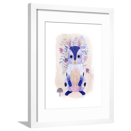 Enchanting Forester II Folk Art Lavender Purple Watercolor Painting of Forest Animal Rabbit Framed Print Wall Art By Grace Popp