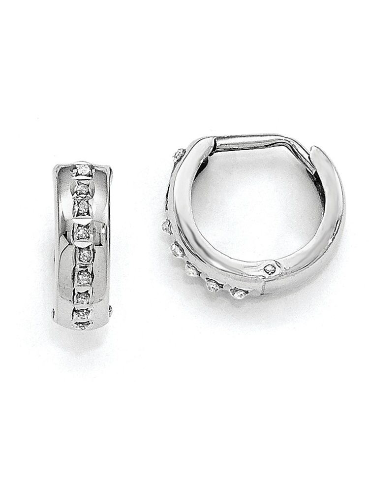 Mia Diamonds 14K White Gold Polished and Textured Oval Hinged Hoop Earrings