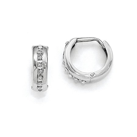14k White Gold Hinged Polished Diamond Fascination Round Hoop Earrings - .01 dwt ()