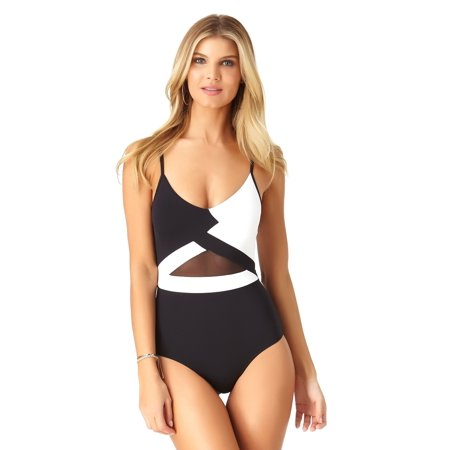 (Anne Cole Women's Hot Mesh Color Block V Neck Maillot One Piece Swimsuit)