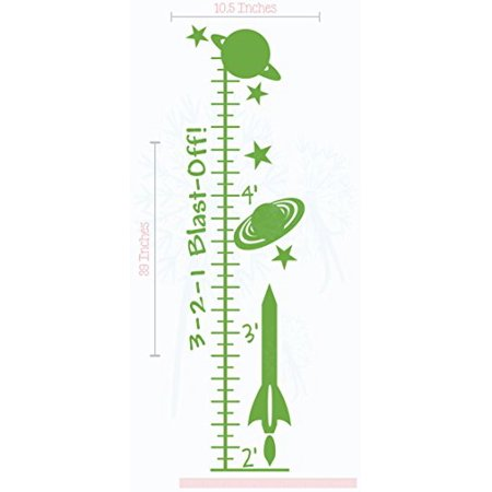 Blast Off Rocket Growth Chart Vinyl Decals Boys Wall Decor Sticker Art, 10.5x39-Inch Lime Green