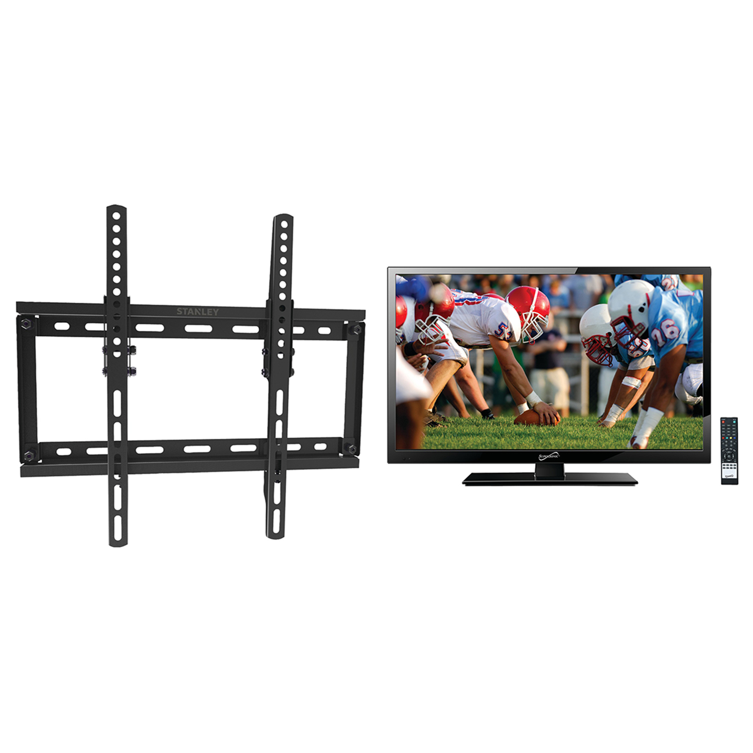 "Supersonic 24"" Class Full HD (1080P) Portable LED TV (SC-2411) and Stanley TMR-DS1113T Tilt Flat Panel Mount"