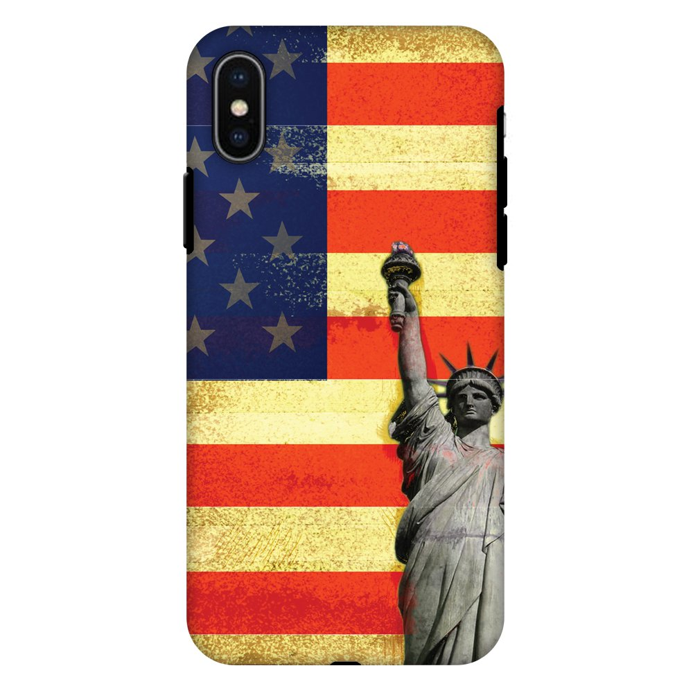 iPhone X Case, Premium Heavy Duty Dual Layer Handcrafted Designer Case ShockProof Protective Cover with Screen Cleaning Kit for iPhone X - Rustic Liberty US Flag, Flexible TPU, Hard Shell