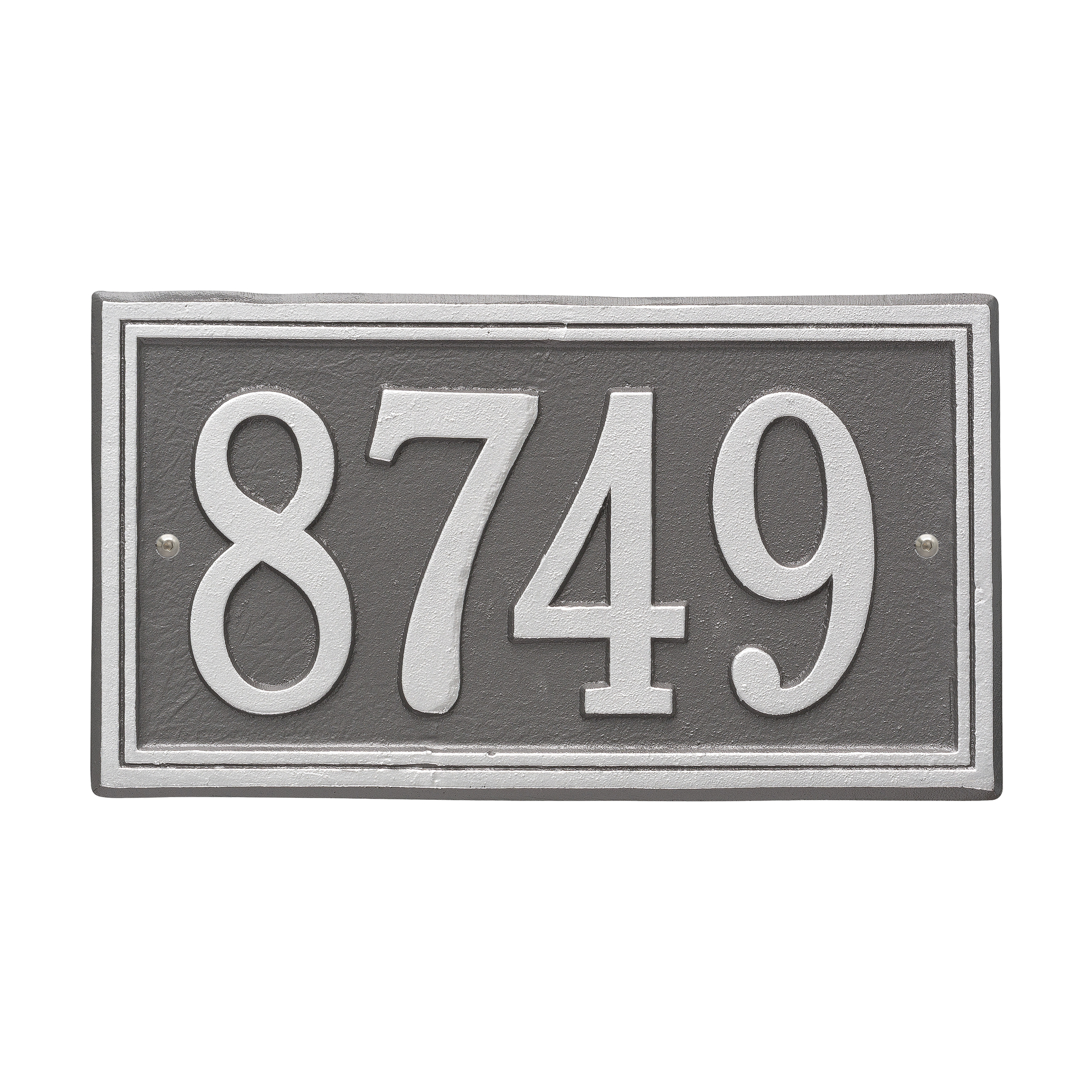 Personalized Whitehall Products Double Border1-Line House Numbers Plaque Pewter/Silver