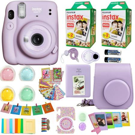 Fujifilm Instax Mini 11 Lilac Purple Camera with Fuji Instant Film Twin Pack (40 Pictures) + Purple Case, Album, Stickers, Color Lenses and More Accessories Bundle