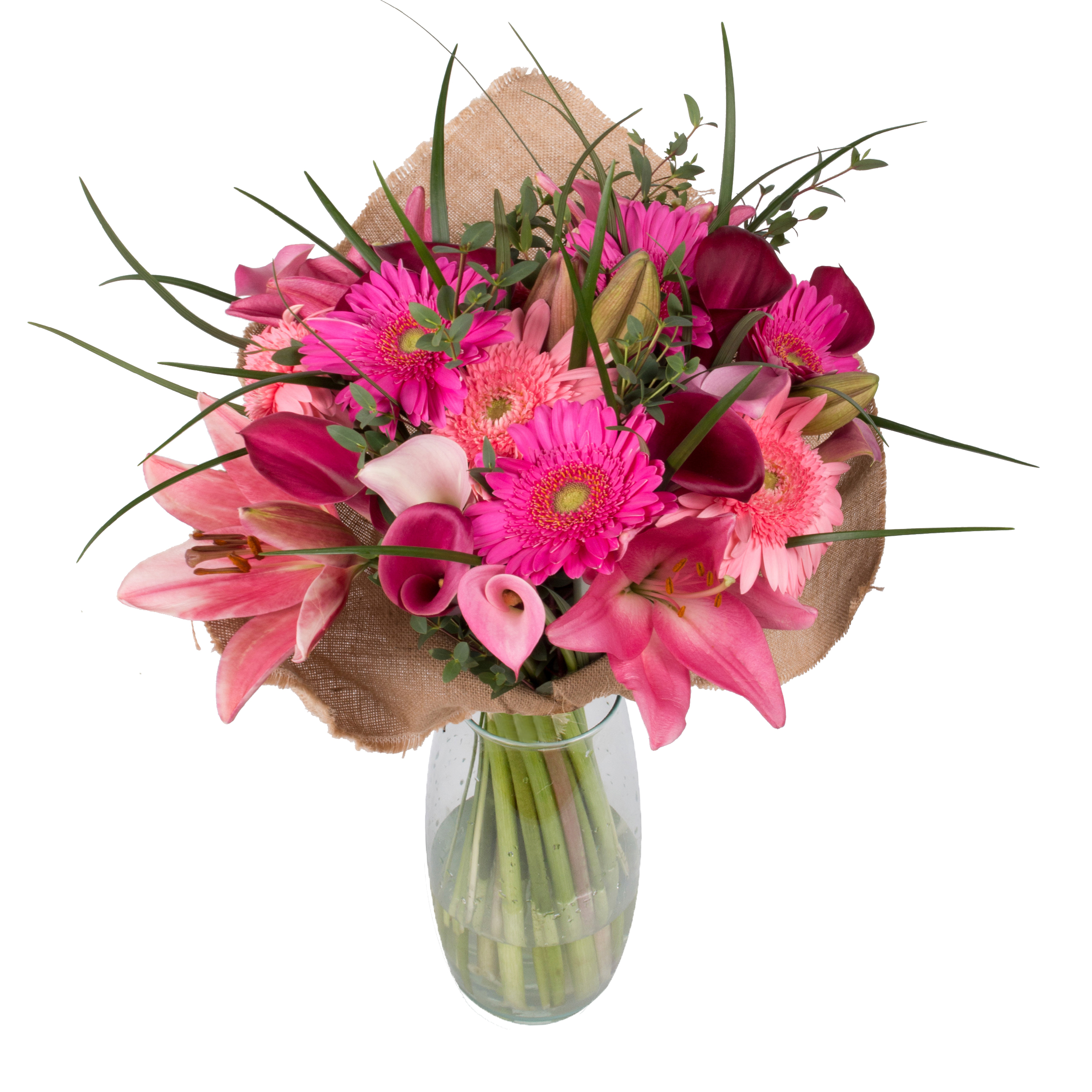 Pink Emma Bouquet with Burlap - 33 Stems