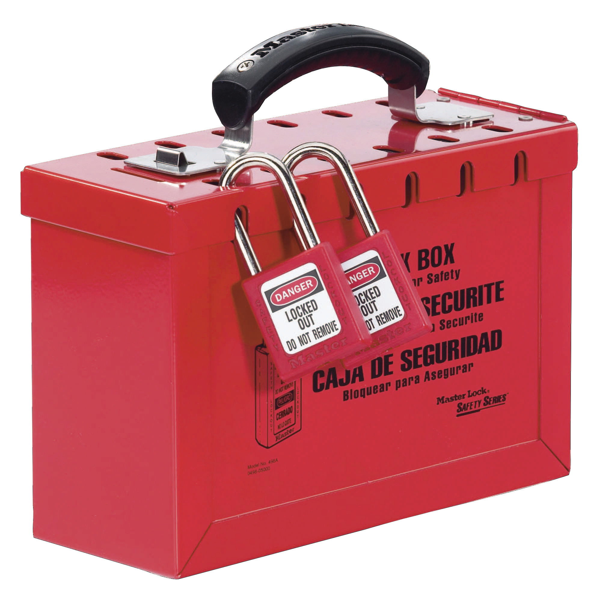 Master Lock Group Lock Box, 9 1/4 in L x 6 in H x 3 3/4 in W, Steel, Red