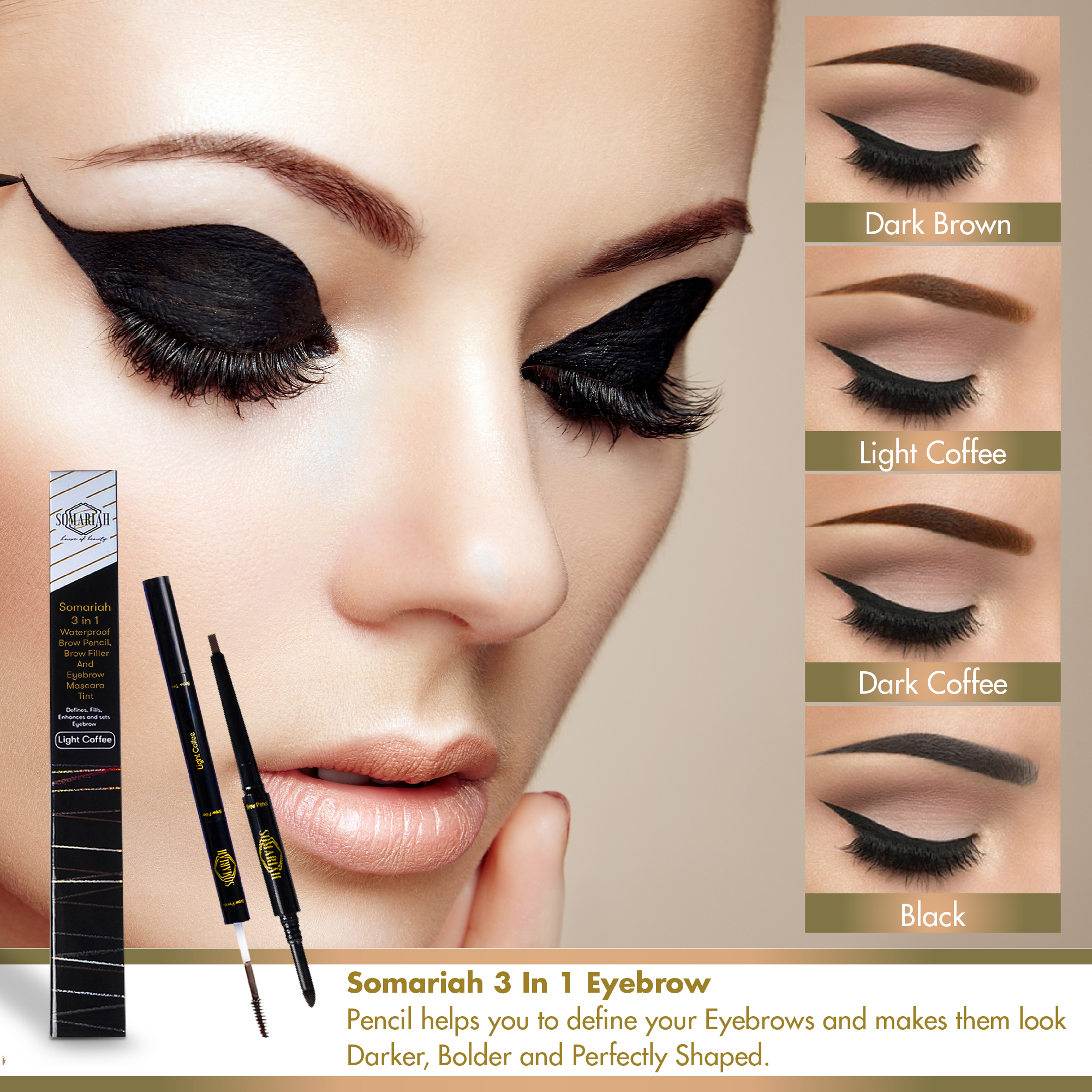 Somariah Eyebrow Makeup Kit 3 In 1