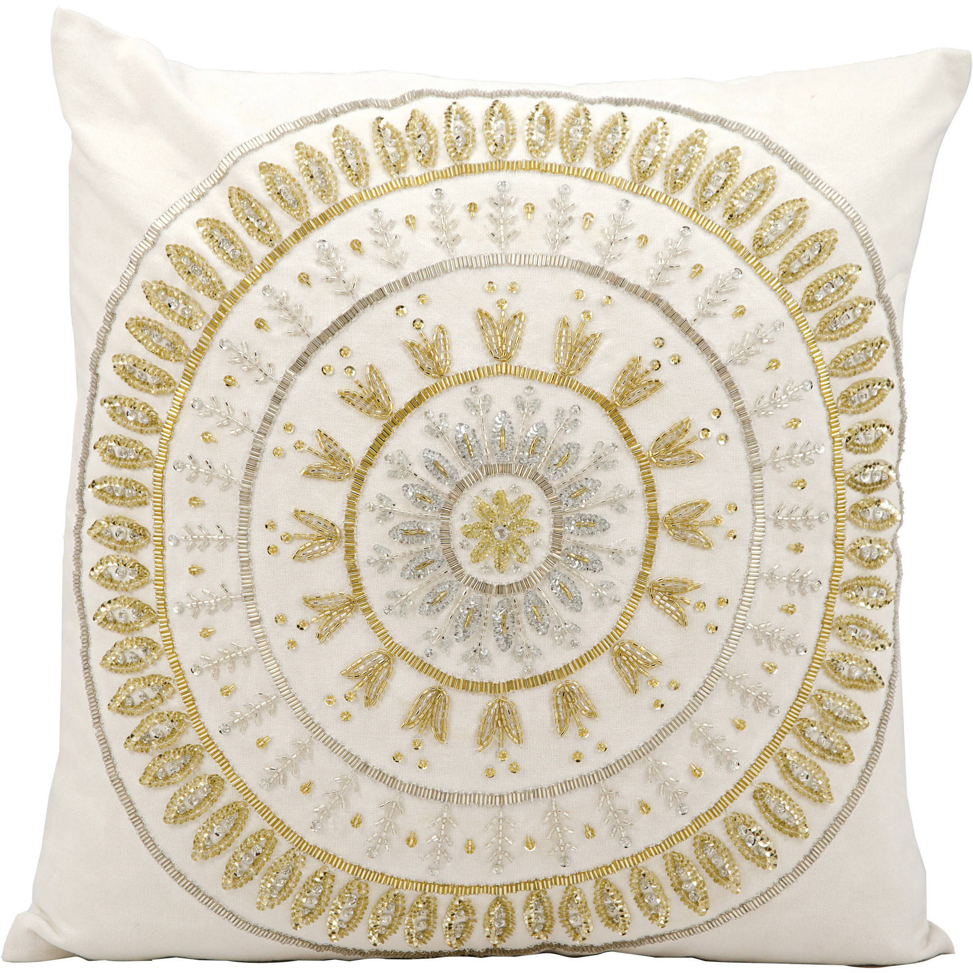 """Michael Amini Beaded Sun Decorative Throw Pillow By Nourison, Ivory Gold, 18"""" X 18"""" by Nourison"""