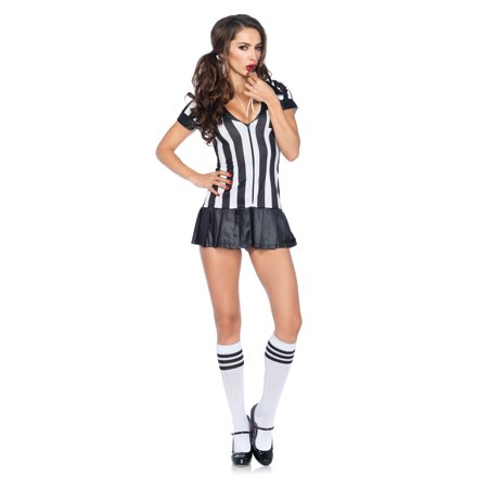 Girl Referee Costume (Leg Avenue Women's 3 Piece Referee Costume, Black/White,)