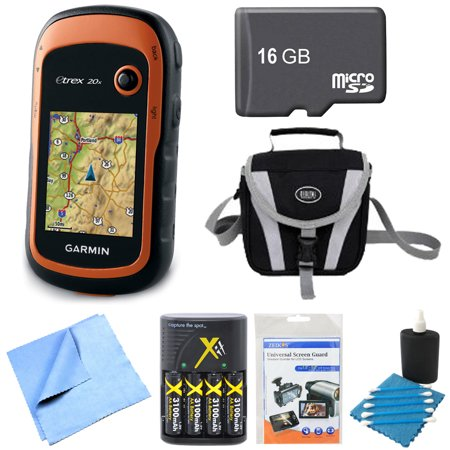 Garmin 010-01508-00 - eTrex 20x Handheld GPS 16GB Micro SD Memory Card Bundle includes eTrex 20x GPS, Screen Protector 3-Pack, Cleaning Kit, Gadget Bag, AA Batteries and Charger, 16GB Micro SD Memory 00 Garmin Etrex Legend