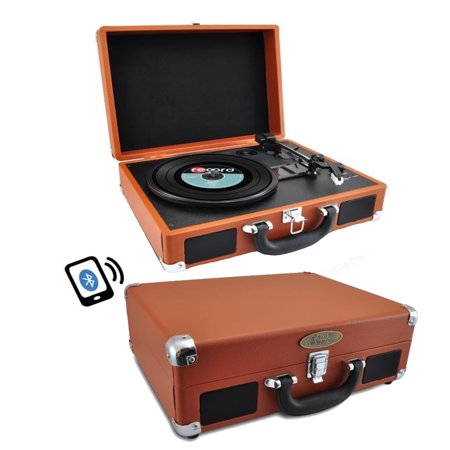 Portable Vintage Classic-Style BT Turntable System with Vinyl-to-MP3 ReCording, Built-in Speakers and Battery