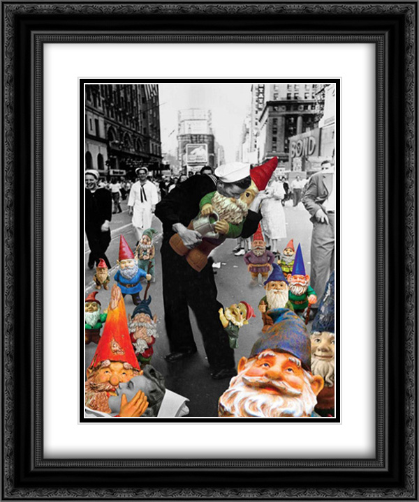 Garden Gnomes VJ Day 2x Matted 20x24 Black Ornate Framed Artwork Print by Kite, Barry by FrameToWall
