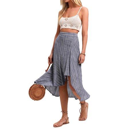 EZCottonLinen Womens Cotton Linen Striped High Waist Skirt Ladies Asymmetrical Holiday Dress