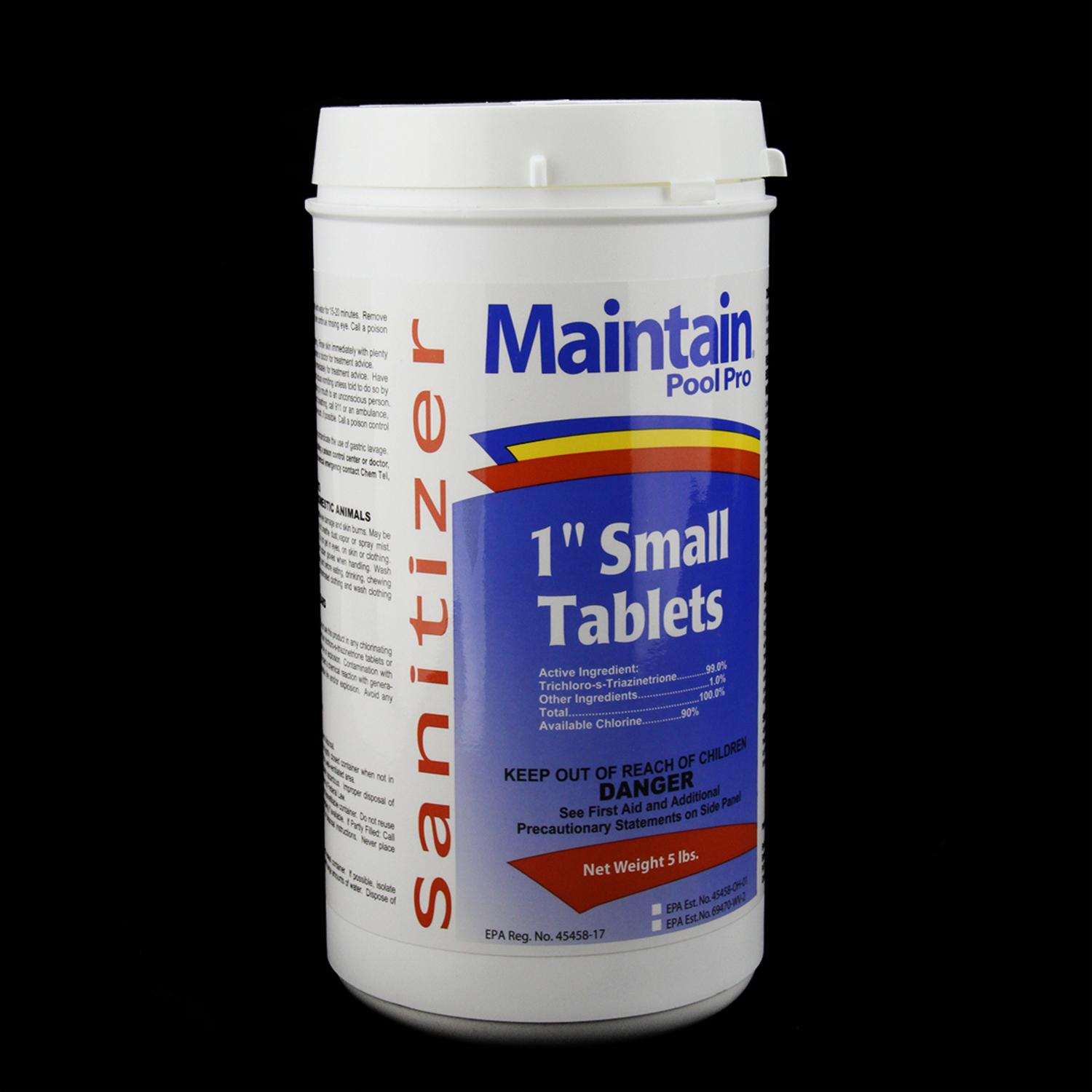 """Maintain Pool Pro Sanitizer Concentrated Stabilized Chlorinating 1"""" Small Tablets 5lbs"""