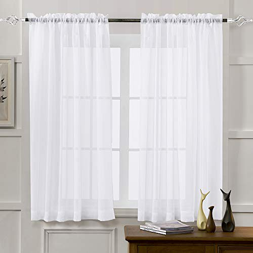 Sheer Curtains White 45 Inch Length, Long White Sheer Curtains