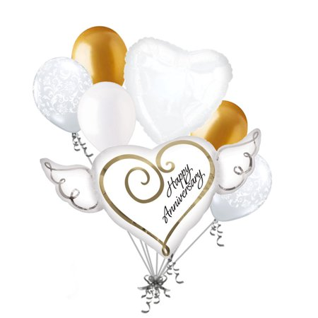 50 Anniversary Decorations (7 pc Happy Anniversary Wings Balloon Bouquet Decoration Married Wedding Gold)