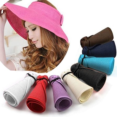 Girl12Queen Women's Summer Wide Brim Roll Up Foldable Sun Beach Straw Braid Visor Sun - Women's Straw Beach Hats
