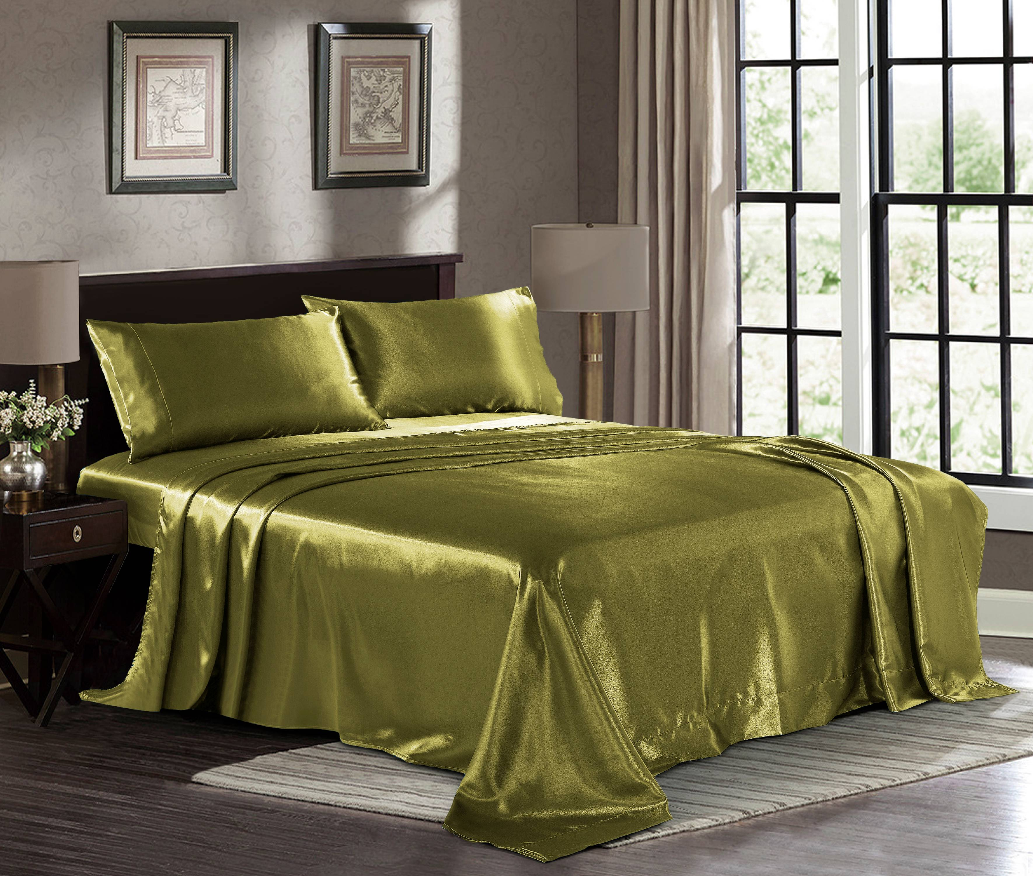 Ultra Soft Silky Satin Bed Sheet Set With Pillowcase