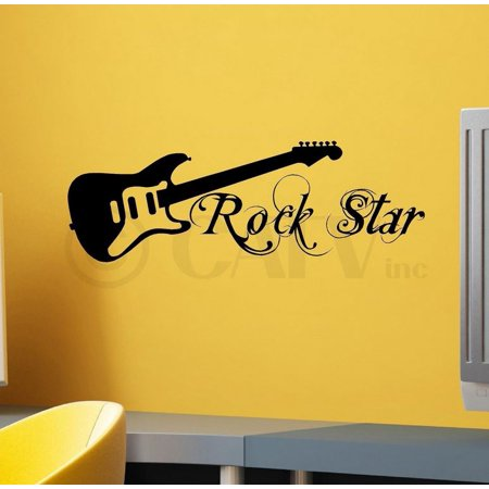 Star Sayings (Rock Star With Guitar wall saying vinyl lettering art decal quote sticker home)