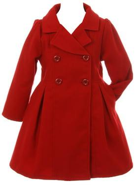 Little Girls Cozy Long Sleeve Collar Button Flower Girl Coat Jacket Cover Outerwear Red 2 (J20K49S)