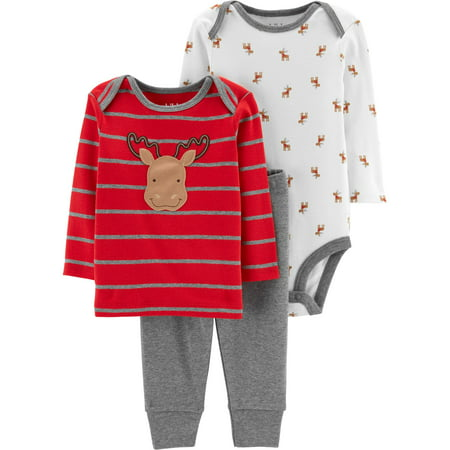 Child of Mine by Carter's Long Sleeve Bodysuit, Long Sleeve T-Shirt & Pants, 3-Piece Outfit Set (Baby Boys)