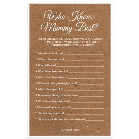 Baby Shower Game - Who Knows Mommy Best - Set of 30 - Kraft Texture - Who Knows Mommy Best