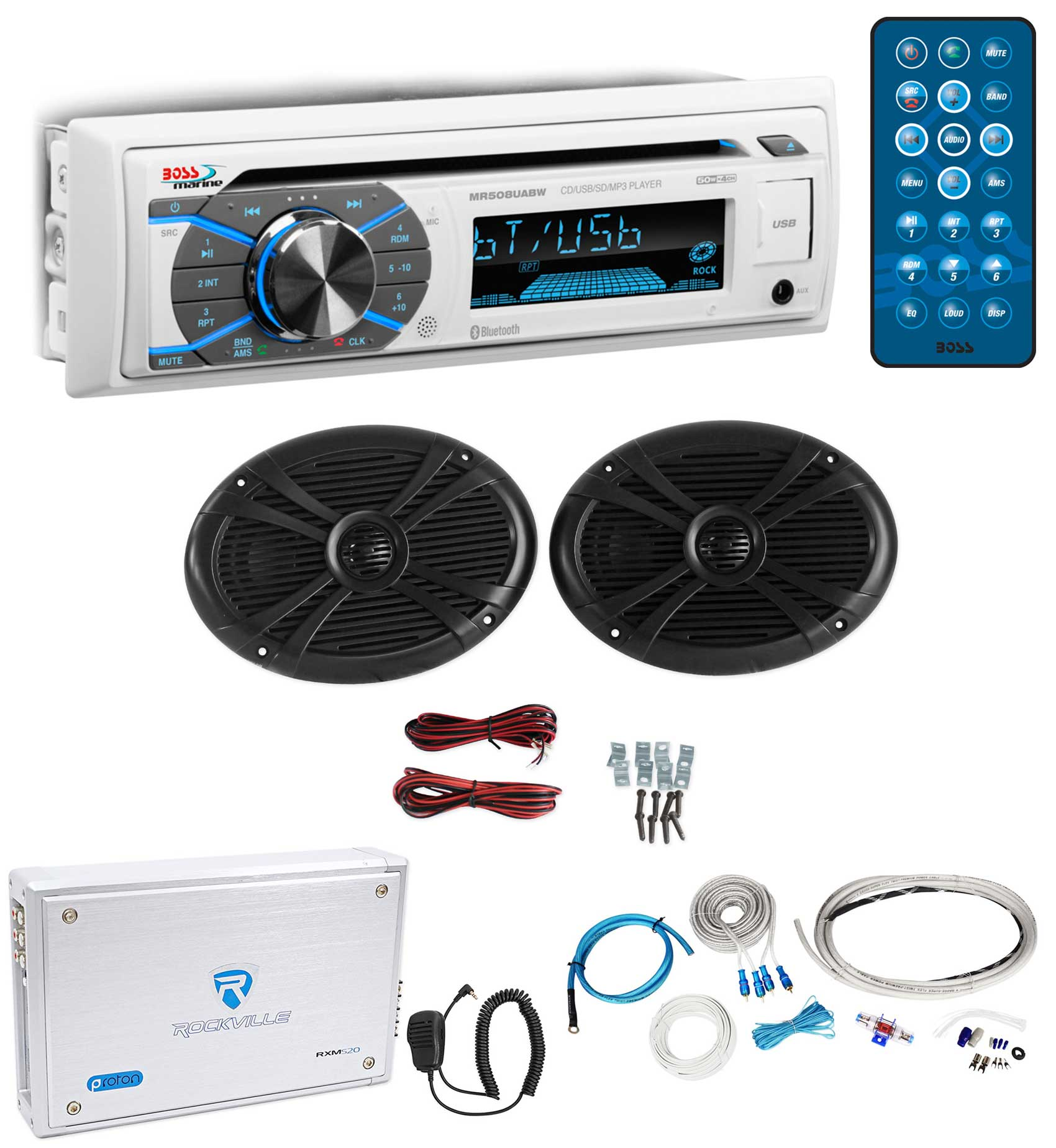 "Pair Rockville 6x9"" Marine Boat Speakers+Bluetooth Receiver+4-Ch Amplifier+Wires"