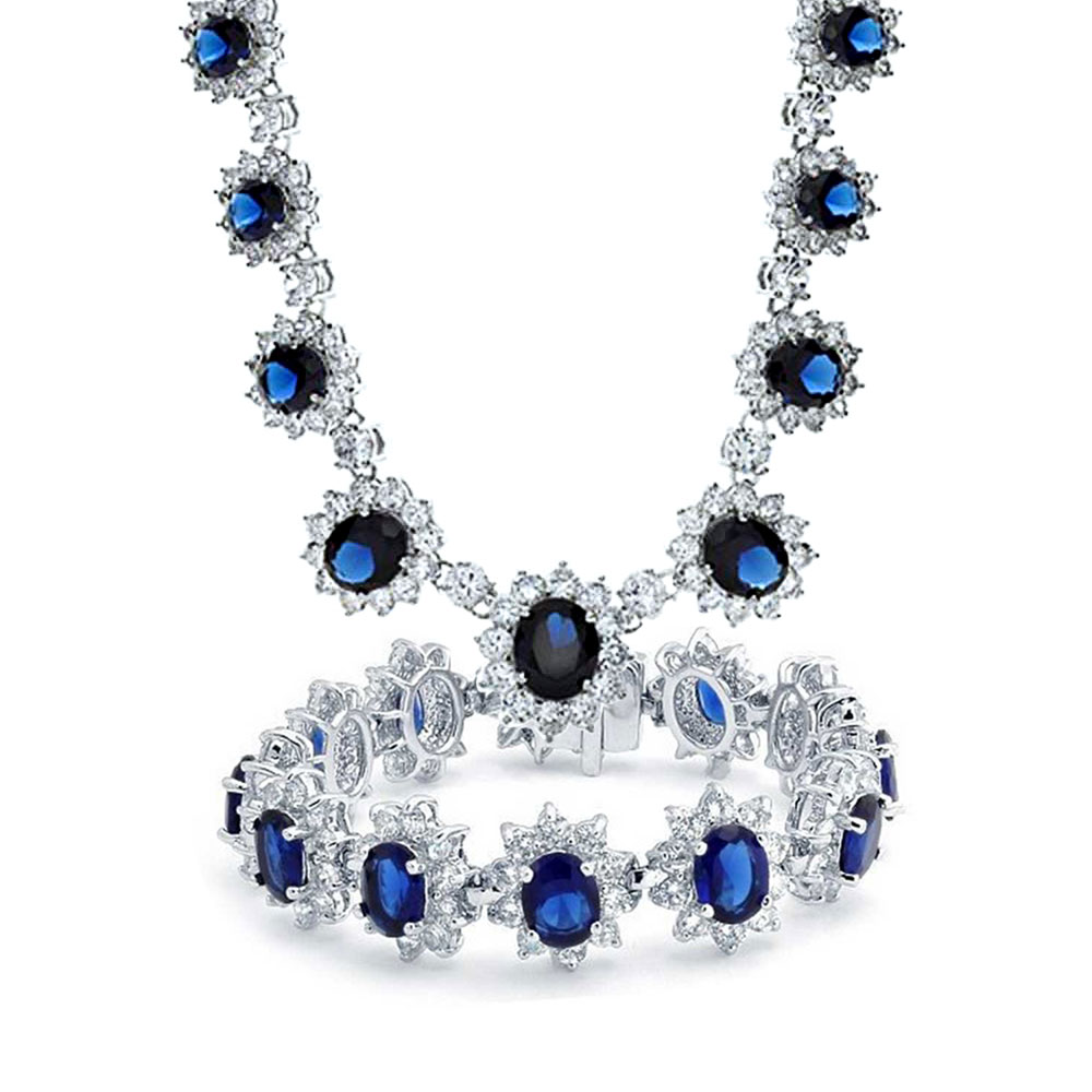 Bling Jewelry Crown Set Simulated Sapphire Cubic Zirconia Wedding Set Rhodium Plated by Bling Jewelry